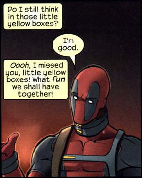 Deadpool fun yellow boxes